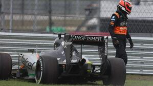 Force India during Qualifying